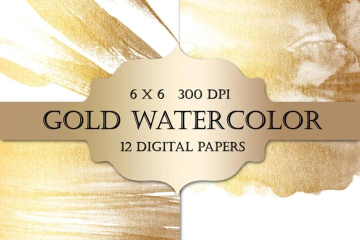 Gold Watercolor Paint Backgrounds