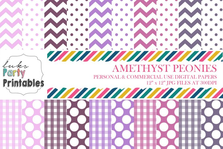 Amethyst Peonies Digital Paper Scrapbooking Paper Background