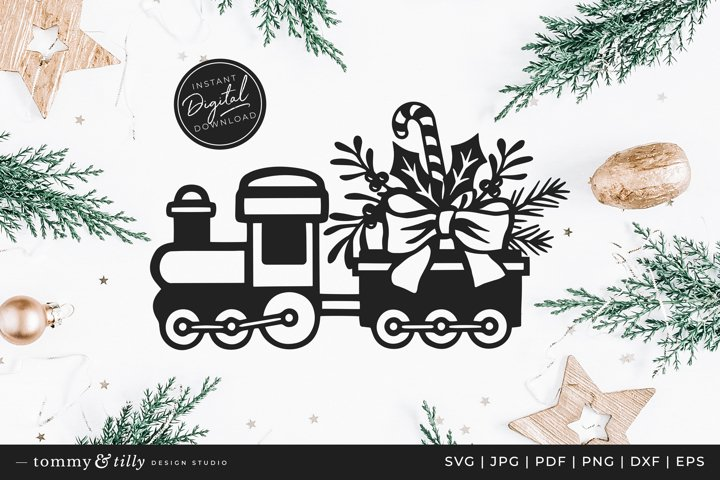 Christmas Train - SVG DXF PNG EPS JPG PDF Paper Cutting
