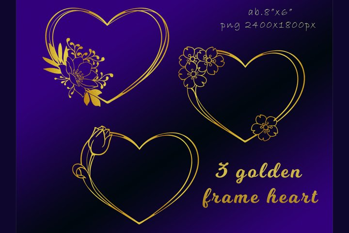 Gold frame hearts for valentines day PNG