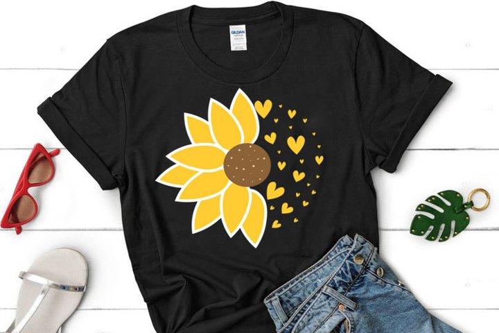 Sunflower SVG, Half Sunflower clipart, Sunflower cut file,