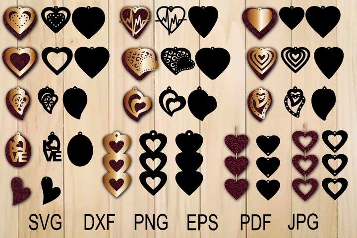 Heart Earring SVG, Valentine Earrings Template SVG