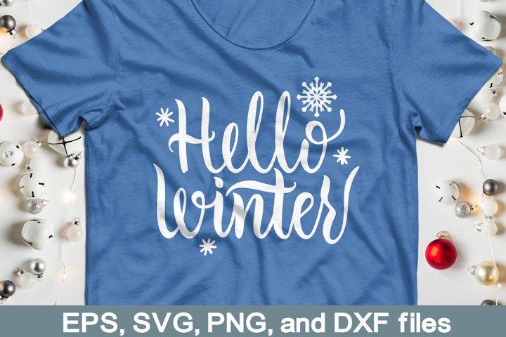 Hello winter SVG file. Winter lettering