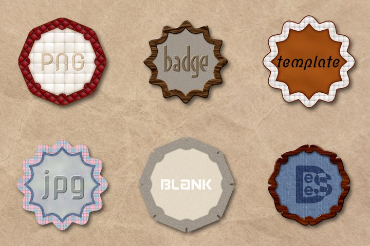6 Leather Blank badge set. 3D rendering illustration.