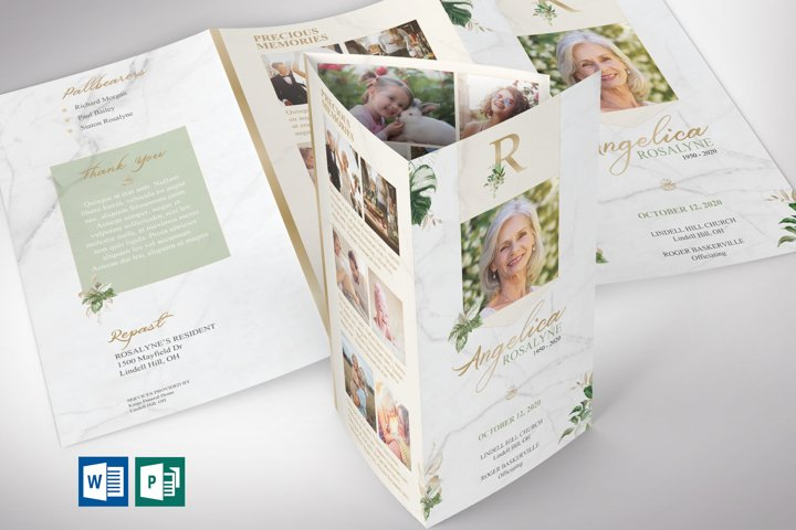 Tropica Legal Trifold Funeral Program Word Publisher Templat