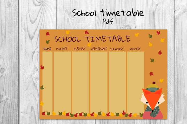 School timetable, Fox timetable