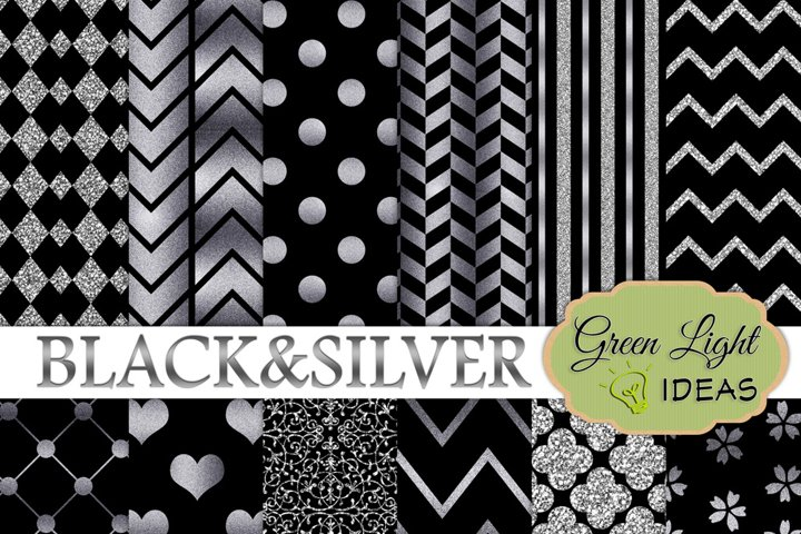 Black and Silver Digital Papers