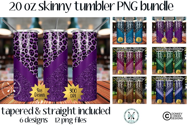 20 oz Skinny Tumbler Leopard PNG Bundle- Sublimation