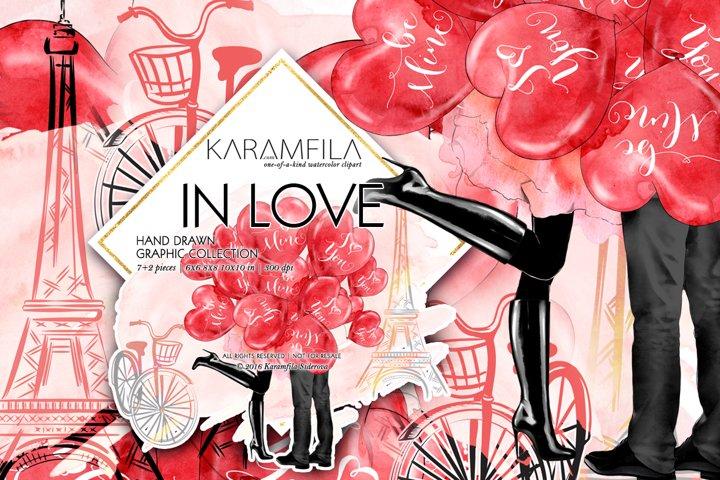 Love Couple in Paris Valentine Day Clipart