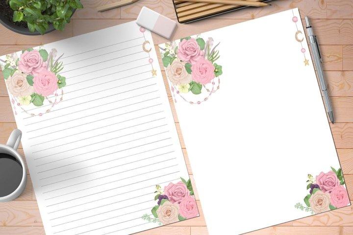 Pink Rose Boho Printable Stationery Set