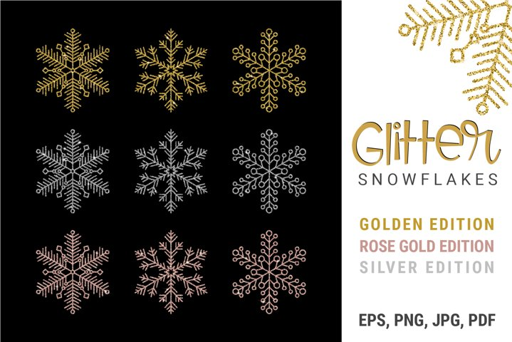 Gold And Silver Glitter Snowflakes Bundle | EPS PNG JPG