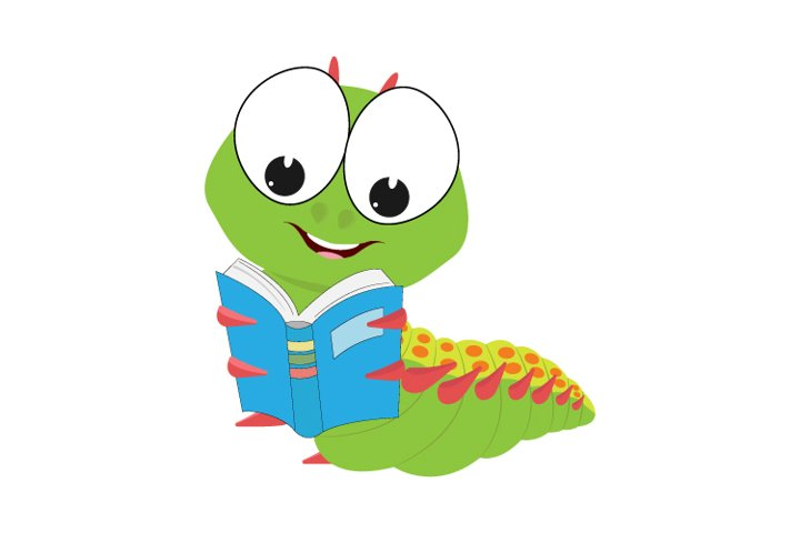cute caterpillar reading a book, simple vector illustration