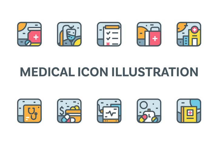 Medical Icon Illustration Set