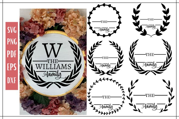 Last Name Round Wreath Templates SVG Bundle