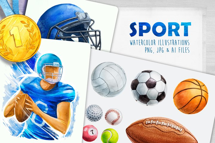 Sport. Watercolor illustrations.