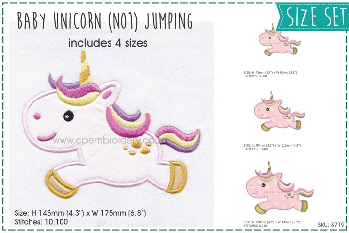 Baby Unicorn No1 Jumping Applique