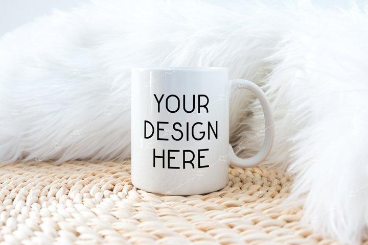 11 Oz White Coffee Mug Mockup on Braided Place Mat & Fur