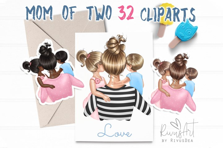 Mothers Day Mom of two Daughter Son Boy Girl clipart