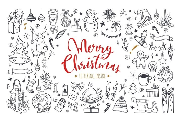 Merry Christmas and New Year doodle and lettering collection