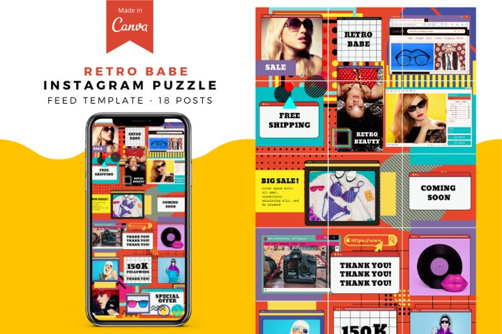 Retro Babe Canva Instagram Puzzle Feed Template