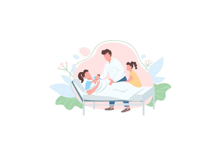 Family with baby flat color vector faceless character