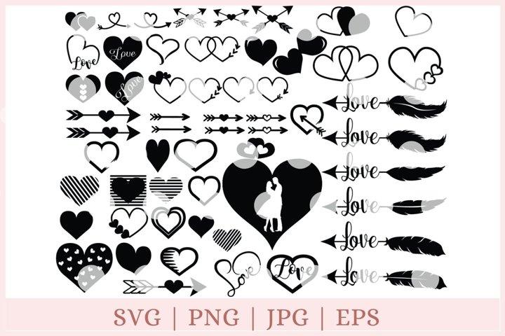 Heart bundle SVG, Valentine SVG, heart cut files, love sag