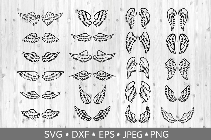Set of hand drawn angel or bird wings. Vector clipart. SVG.