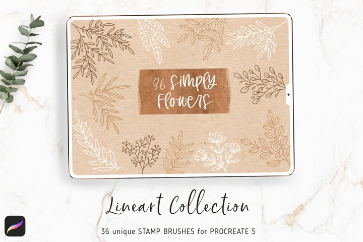 Procreate Flower Brushes - Lineart Stamps for Procreate 5