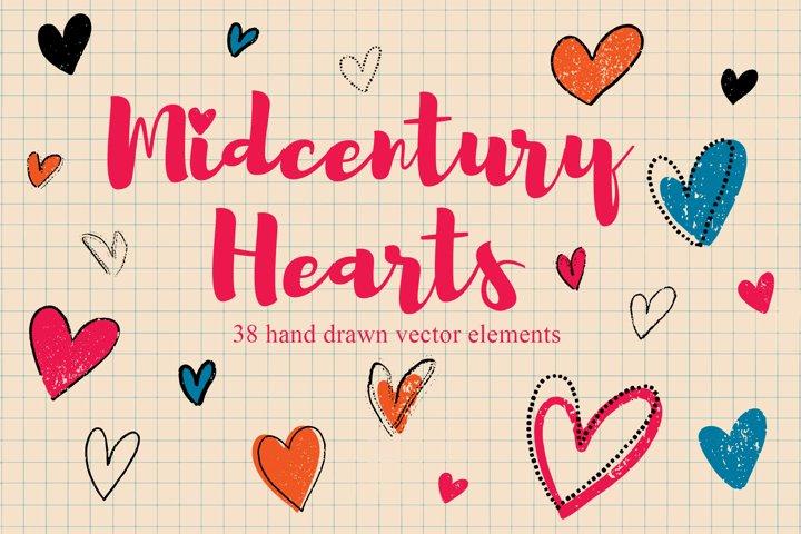 Midcentury style hearts