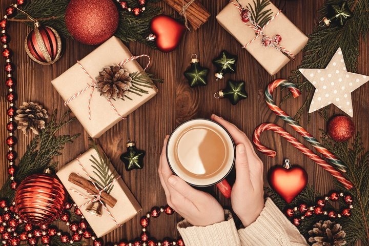 Christmas and New Year rustic composition with coffee.