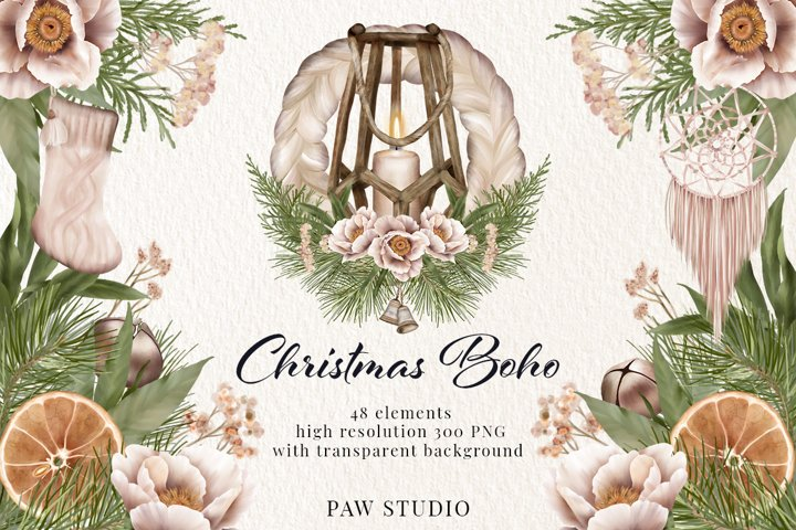 Christmas Clipart Boho Wreath Winter Holiday Decoration