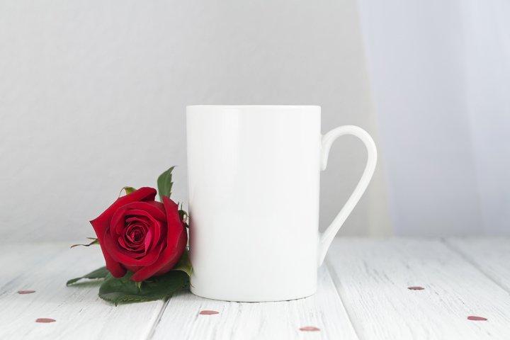 Valentine mug mockup with red rose on hearts