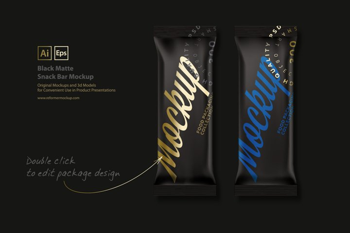 Black Matte Snack Bar Mockup