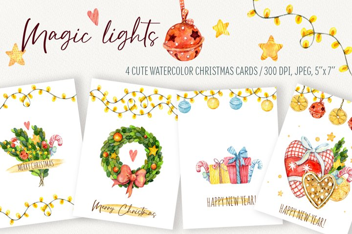 Magic lights. Watercolor Christmas, New year cards templete.