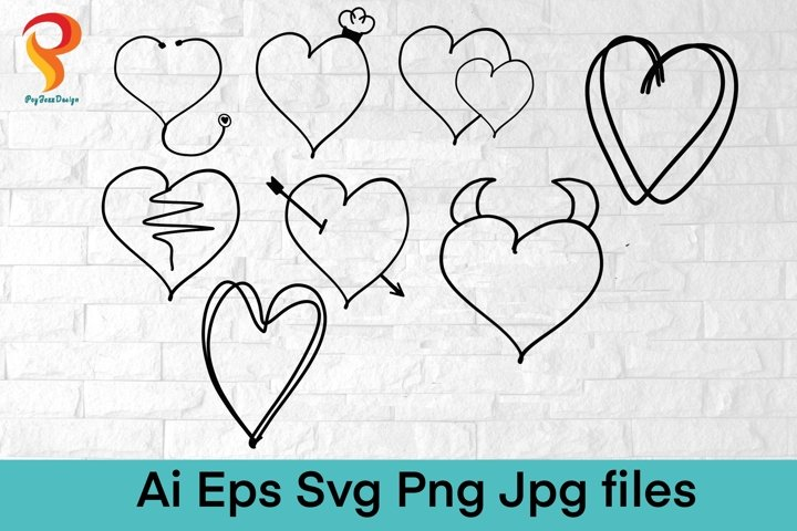Hand Drawn Heart, Hand Lettered Hearts SVG, SVG Files,