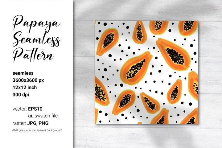 Papaya Digital Paper Papaya Fruit Pattern Vector seamless