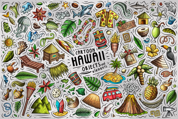 Hawaii Cartoon Objects Set
