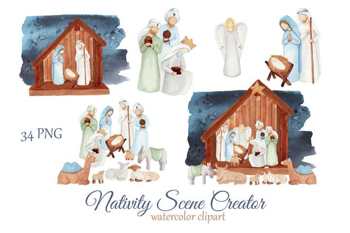 Nativity Christmas clipart, watercolor scene creator