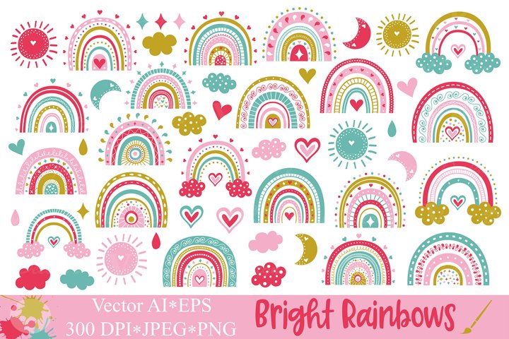 Bright Rainbows Clipart / Cute colorful rainbow graphics