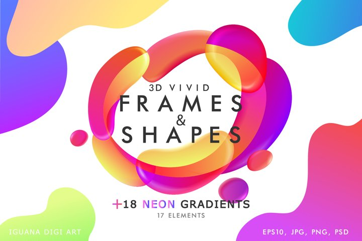 Vector 3d liquid fluid frames and shapes set in neon colors