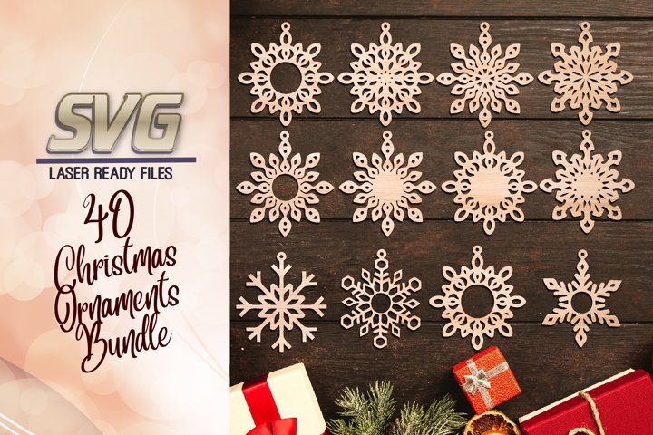 Christmas Snowflake Ornament SVG Glowforge Files Bundle
