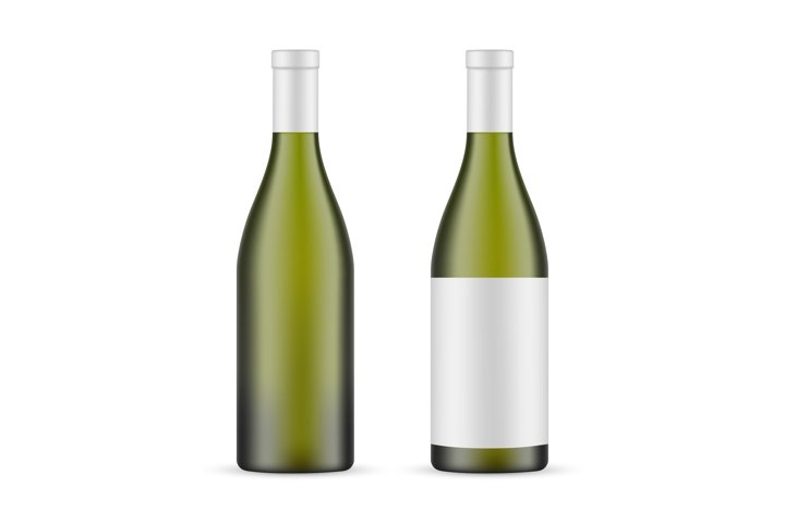 Green Glass Wine Bottle Mockup With Label and Blank Mockup