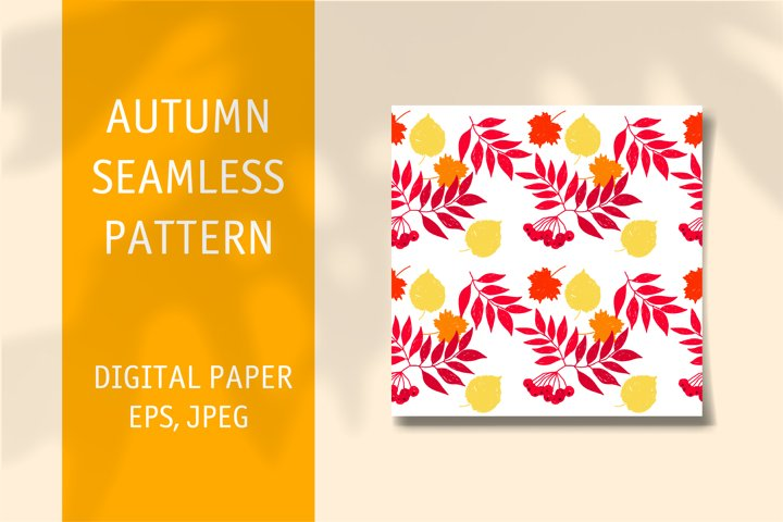 Autumn seamless pattern. Digital vector paper
