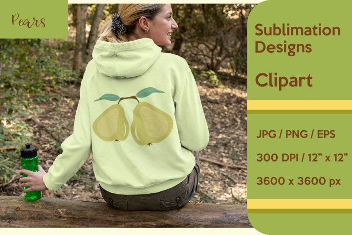 Green Pears sublimation clipart.
