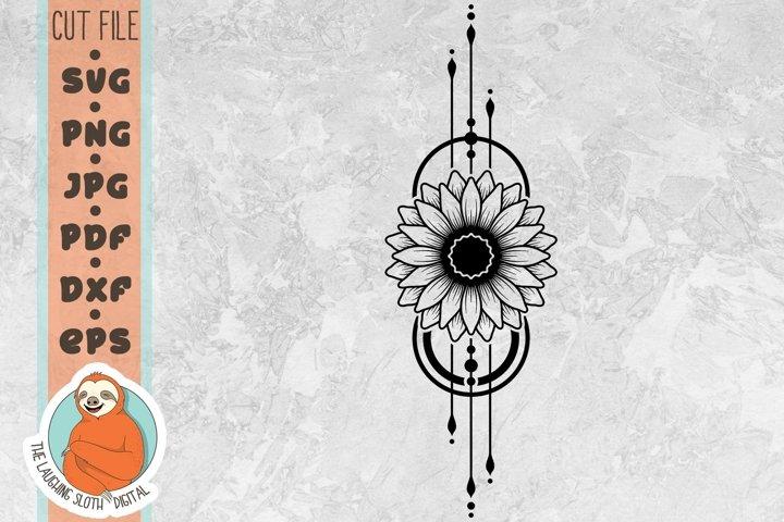 Sunflower Geometric SVG - Flower SVG - Boho SVG