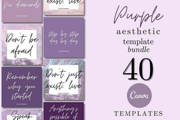 Purple Aesthetic Instagram Canva Templates Bundle