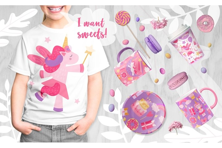 Magical unicorns. Designer clipart bundle.
