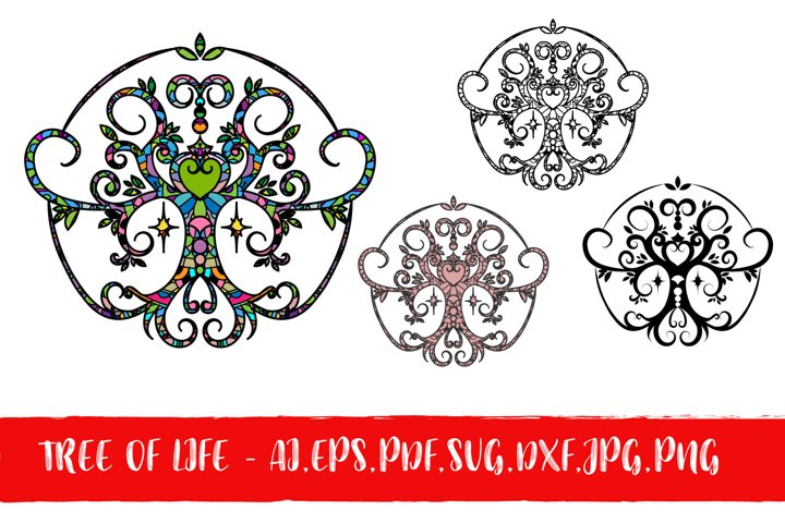 Tree of Life with Heart Pack - AI, EPS, SVG, DXF, JPG,