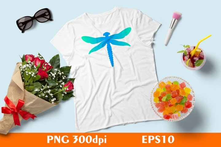 Colorful Dragonfly for Sublimation PNG EPS10