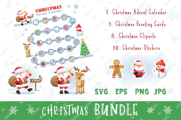 Digital Christmas set with funny Santa, Deer and Snowman.